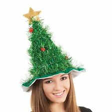 Green Tinsel Christmas Tree Baubles Hat Adults Kids Funny Xmas Comedy Accessory