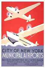 NEW YORK AIRPORTS Vintage Air Travel Reproduction Rolled CANVAS PRINT 24x36 in.