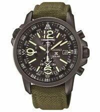 New Seiko SSC295 Solar Alarm Chronograph Military Nylon Strap Men's Watch