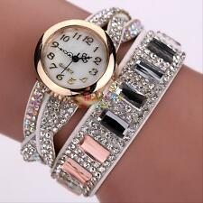 Women's Crystal Bracelet Wrist Watch Quartz Faux Leather Wristband Wrap