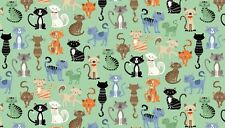 "Crafty CATS on Turquoise Cotton fabric Makower Size 22"" x18"" larger available"