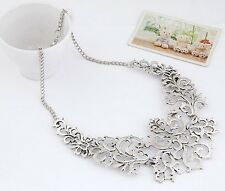 Attractive Charm Silver Hollow-out Flower Pattern Pendant Bib Necklace Free