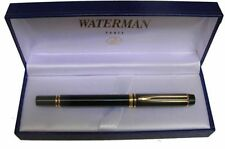 @@ WATERMAN  MAN 200 BLACK FOUNTAIN PEN 18K GOLD FINE PT  IN BOX  **