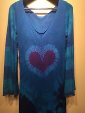 Doreen Virtue's tie-dye organic cotton heart maxi dress with bell sleeves size L