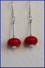 Stunning STERLING SILVER 925 Dark Red EARRINGS Art GLASS LAMPWORK Handmade
