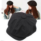 Cabbie Newsboy Gatsby Cap Mens Ivy Hat Golf Driving Winter Cold Flat Plain Black