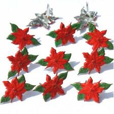 Eyelet Outlet Brads - POINSETTIA - Pack of 12 - Scrapbooking / cards - Christmas