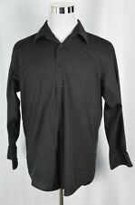 Bergamo New York Mens Large 16-16.5 Black Long Sleeve Button Down Front Shirt