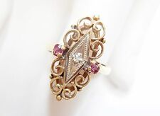 Vintage 10k Yellow Gold Diamond & Ruby Filigree Openwork Ring Sz 4.25 #2243