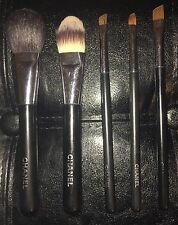 Lot of 5 CHANEL MAKE-UP BRUSHES: Blush, Foundation, Brow, Lip, Angled Eye Shadow