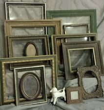 Huge Lot 13 Vtg green Picture photo FRAMes antique 8x10 gold wall wedding wood
