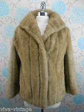 Vintage 1980s Does 1950s Short Honey Blonde Faux Mink Fur Jacket Goodwood 14/16