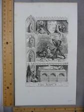 Rare Antique Original VTG 1844 Shakespeare King Henry V Illustration Art Print