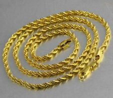 "24"" 9K Solid Gold Filled Mens Unisex Chain Necklace,F2596"