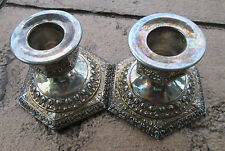 """PAIR ANTIQUE DERBY SILVER CO. REPOUSSE CANDLESTICKS  #2522  3"""" TALL"""