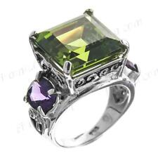 HANDCRAFTED 7CT PERIDOT AND AMETHYST GEMSTONE 925 STERLING SILVER US 6 ring