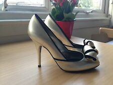 Sergio Rossi Metallic gold and black bow court shoes NEW Size 39 UK 6 £495