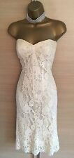 Exquisite Karen Millen Antique Cream Lace Strapless Stretch Bodycon Dress UK10
