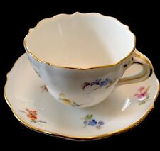 MEISSEN FIRST QUALITY SCATTERED FLOWERS DEMITASSE CUP & SAUCER C. 1850