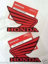 HONDA GENUINE WING - Red Black - 2X 85mm STICKER DECAL PLATE EMBLEM REPSOL HEL
