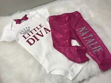 Baby Girl, Newborn, Little Diva Custom Name Outfit, 3pc Set, Clothes Lot