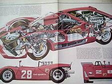 Fiat Abarth 2000 Sports Article Cutaway Artwork Images Pages from Book