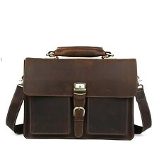 "Vintage Mens Boy's Real Leather Briefcase 15"" Laptop Tote Case Business Bags/Bag"