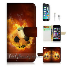 """iPhone 6 (4.7"""") Print Flip Wallet Case Cover! Flame Soccer Football P1446"""