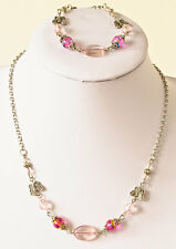Necklace/bracelet set in acrylic pink beads, silver-plated butterflies & chain