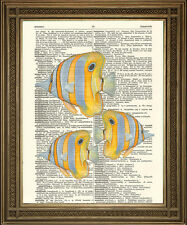 YELLOW FISH DICTIONARY PRINT: Tropical Ocean Art Wall Hanging on Vintage Paper