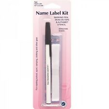 Hemline Name Label Kit Iron On Tape With Pen And Stencil