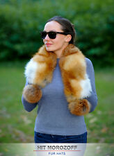 Red FOX FUR Collar Boa Wrap Stole Winter Neckwear for Coat Jacket Pom-Poms Scarf