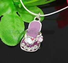 Purple White Clear Rhinestone Hello Kitty Sandal Marked 925 Snake Necklace Chain