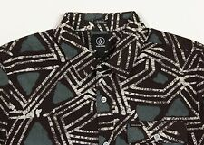 Men's VOLCOM Brown Olive  Short Sleeve S/S Tribal Art Shirt X-Large XL NWT NEW