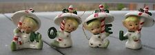 Napco NOEL Elves 4 ornaments Candy Cane Umbrellas vintage ceramic Christmas