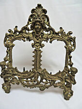"""Antique Victorian Ornate Brass Metal Cherub Double Picture Frame 12"""" Tall"""