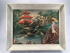 Vintage Paint By Number PBN Painting Japanese Geisha Cherry Blossom Landscape