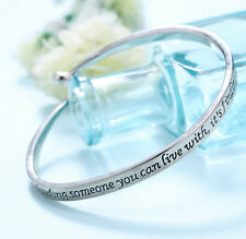 Fashion Women Jewelry Letter Engraved Bangle Bracelet Couple Valentine Day Gift
