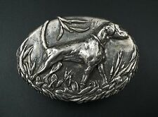 "Massive 3D 8 oz Sterling Silver Belt Buckle 3.5"" Dog Hunting Hound 1/2 lb M416"