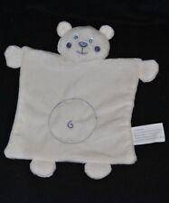 Peluche doudou ours plat KIMBALOO blanc spirale et visage mauve yeux bleus NEUF