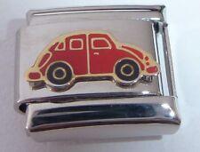 RED CAR Italian Charm - Beetle Love Bug 9mm E454 fits Classic Starter Bracelets