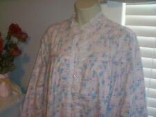 NWT M Lanz of Salzburg Nightgown Gown POCKETS New Pink Roses High Neck Ruffle