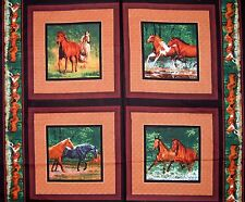 "Wild Wings 34"" Fabric Panel - River's Bend Horse Pillowcase Scene Springs Cotton"