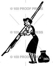 100 PROOF PRESS RUBBER STAMPS SMALL WOMAN, LARGE INK PEN STAMP