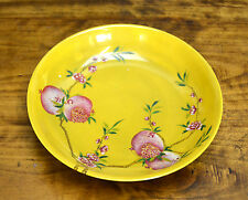 Superb Chinese Qing Yongzheng MK Enamel Peach Yellow Ground Porcelain Plate