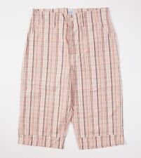 New $230 POST O'ALLS 3/4 Length Orange Check Cotton Shorts 30 (S) Overalls USA