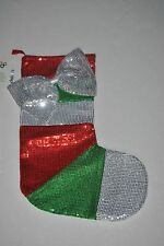 Sequin Striped Christmas Stocking with Large Bow