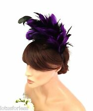 20's Flapper Style Feather Fascinator on a Headband Alice Band Purple and Black