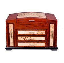 Luxury Wooden Jewelry Case Storage Box Necklace Bracelet Ring Organizer Display