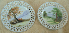 2 Handpainted CHINESE JAPANESE RETICULATED Plates Dishes Mountain Scene ORIENTAL